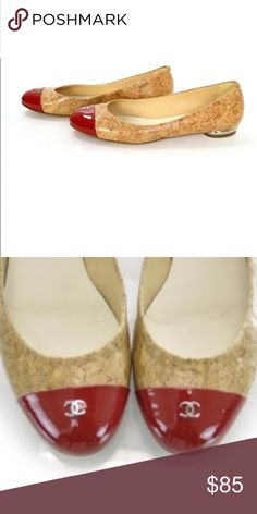 Chanel Red Cork Flats Chanel Red Cap Cork Flats size 8.5 good condition CHANEL Shoes Flats & Loafers