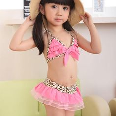 New Skirt + Hat Suit Toddler Baby Girls Swimwear Leopard Bikini Kids Swimsuit B1135 B1139-in Swimwear from Apparel  Accessories on Aliexpress.com $9.50