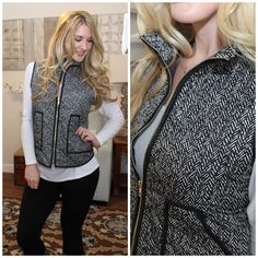 Most Coveted Quilted Herringbone Printed Puffer Vest!