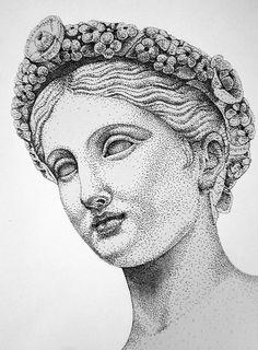 Flora by LazzzyV on DeviantArt Dotted Drawings, Cool Art Drawings, Art Drawings Sketches, Stippling Drawing, Greek Art, Ink Illustrations, Pen Art, Art Sketchbook, Sketchbook Inspiration