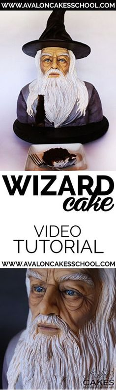 Wizard Bust Cake Tutorial. Learn how to make this awesome wizard cake in this step by step tutorial! Click through for tons of cake decorating inspiration and tutorials!