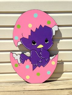 Easter chick in egg easter yard art by PlayfulYardArt on Etsy
