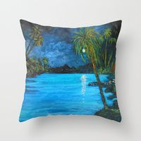 Throw Pillow featuring Tropical Night Reflection by RokinRonda