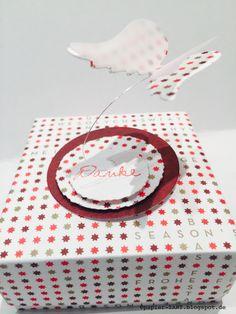 papierZART : Verpackung, Boxen, Origamiboxen, Engelsflügel Stanze, Alexandra Renke Designpapier, Danke Stempel