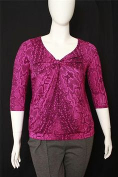 New Lane Bryant Red Snake Print 3/4 Sleeves Front Knot V-neck Top Size 14/16