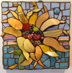 Sunflower with Stripes by Anja Hertle ~  Maplestone Gallery  ~  Contemporary Mosaic Art
