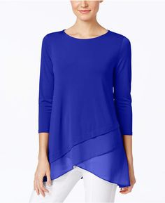 Alfani Chiffon Crossover-Hem Top, Only at Macy's - Tops - Women - Macy's Look Fashion, Fashion Outfits, Macys Tops, Casual Chique, Moda Casual, Asymmetrical Tops, Business Attire, Latest Fashion For Women, Blouse Designs