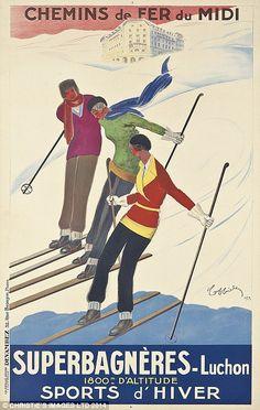 Vintage Ski Posters - Attractive Vintage Ski Posters from Vintage Poster Classics. Authentic Ski Poster from France, Italy, etc. Ski Vintage, Vintage Ski Posters, French Vintage, Vintage Art, Vintage Winter, Vintage Green, Kunst Poster, Poster Art, Retro Illustration