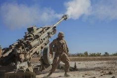 Live fire exercise. A towed M777A2-155mm howitzer
