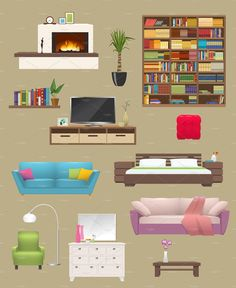 Buy Furniture Elements Interior Set by VectorPot on GraphicRiver. Furniture elements interior set with fireplace sofas and chair bookcase and tv stand isolated vector illustration. Paper Doll House, Paper Houses, Paper Dolls, Fireplace Bookcase, Casa Anime, Animation Background, Backrounds, Flat Design, Kids Playing