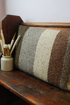 Nice, natural colour palette. Chunky Woven Striped Cushion - Damson and Slate