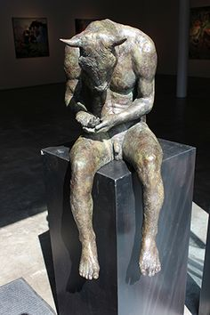 "Beth Carter, Reading Minotaur III , 2014, Bronze (edition of 15), 29"" x 19"" x 11"" #art #sculpture #contemporary #MagicalRealism #bdg #bdgny #minotaur #mythology"