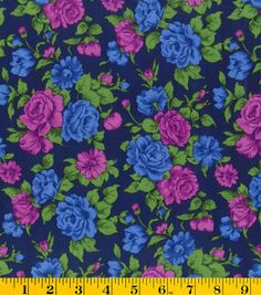 Gertie Collection Fabrics-Rayon Challis Floral Blue