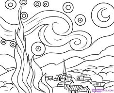 How to Draw 'The Starry Night' by Vincent van Gogh, Step by Step, Online Drawing Tutorial Desenhos Van Gogh, Van Gogh Arte, Starry Night Art, Starry Night Tattoo, Starry Nights, Stary Night Van Gogh, Quilt Art, Online Drawing, Colouring Pages