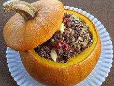 Foods For Long Life: Vegan Stuffed Sugar Pumpkin with Quinoa, Pecans, Cranberries and Apples - Happy World Vegetarian Day!