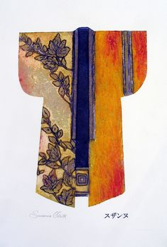 Diagonal motif, from band to cuff and shoulder. Susanne Clark, Kimono, collagraph