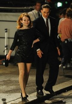 Tom Hardy and Emily Browning on the set of Legend