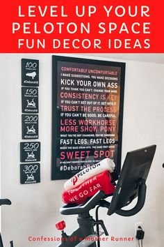 Creative Motivational Decor For Your At Home Peloton Space. Level up your #HomeGym space with some fun and affordable #motivational #decor Feel like you are in studio with your favorite #Peloton #instructor #AtHomeworkouts #OnePeloton #Pelotonbike #cycle #wallDecal #Bike #Milestones #running #strengthTraining Running For Beginners, Workout For Beginners, Fitness Tips, Fitness Motivation, Health Fitness, Easy Workouts, At Home Workouts, Glute Isolation Workout, Best At Home Workout