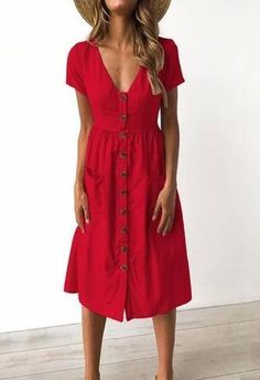 6 Colors V-neck Button Pocket Patched Short Sleeves Midi Dress Pattern Solid Color Occasion Casual/D Casual Summer Dresses, Trendy Dresses, Nice Dresses, Summer Outfits, Cute Outfits, Red Dress Casual, Dress Summer, Beach Dresses, Flower Dresses