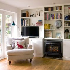 Sitting room with built in cupboards by a local joiner and an electric fire (image from House to Home) Country Modern Home, Country House Interior, Home Interior Design, Country Decor, Living Room Tv, Home And Living, Living Room Without Fireplace, Modern Living, Dining Room