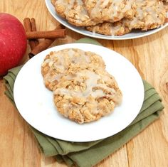 Iced Oatmeal Applesauce Cookies