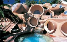 a bubble-shaped house designed by architect Antti Lovag. In 1989, the 28 bedroom home was ironically sold to designer Pierre Cardin,