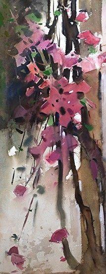 In the garden by Eugen Chisnicean Watercolor ~ 76cm x 35cm