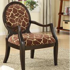 Williams Import Co. Leopard Print Distressed Fabric Arm Chair | Wayfair