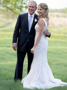 PRESIDENT GEORGE W. BUSH smiles with JENNA on her wedding day in Crawford, Texas. Married to Henry Hager, Jenna is a reading coordinator at a school in Baltimore and occasionally does education reporting for Today.