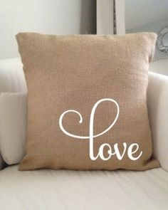 Burlap Love Pillow Cover 18 x 18 in Red or White (Envelope Style) Coordinating Valentines Day Sets Available