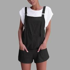Women Elastic Waist Dungarees Linen Cotton Pockets Rompers Playsuit Shorts Pants jumpsuits for women 2018 women rompers catsuit Jumpsuit Casual, Cotton Jumpsuit, Cotton Shorts, Short Playsuit, Short Jumpsuit, Jumpsuit Shorts, Gold Jumpsuit, Jumper Pants, Overall Shorts