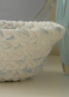homework: today's assignment - be inspired {creative inspiration for home and life}: Upcycling: t-shirt yarn braided basket