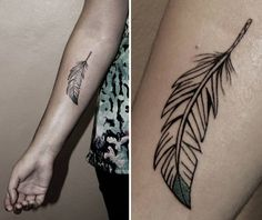 Feather tattoo by Maria in Lines & Dots Hamburg, Germany