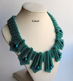 Teal Pearl/Seed Bead Necklace Statement Beadwork Necklace 3D