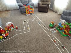 Masking tape to make roads between the Little People Houses... that would entertain my kids for DAYS!