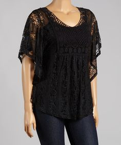 Look at this Black Lace Top - Plus on #zulily today!