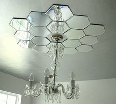 diy mirror ceiling light medallion Maybe this with an open bulb design light .it would hide the different paint color. Mirror Ceiling, Ceiling Beams, Ceiling Lights, Wall Mirrors, Ceiling Tiles, Mirror Tiles, Mirror Mirror, Circle Mirrors, Mirror House