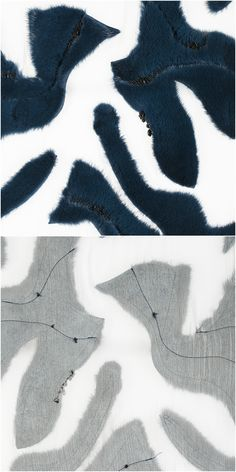 Fur in organic patterns stitched on fabric. Hand embroidery on top of fur.