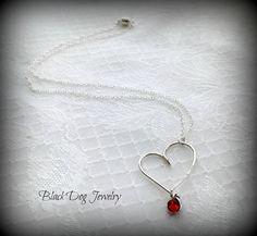 Sterling Silver Heart Necklace  Romantic by BlackDogJewelrynArt