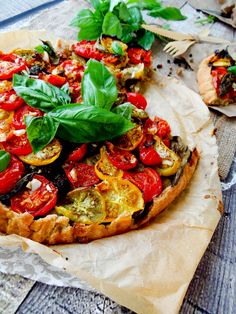Tomato tart - I'd add shaved parm and maybe some prosciutto (no longer vegan)