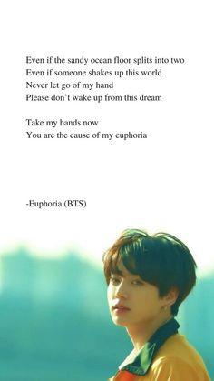 Euphoria von BTS Jungkook Lyrics is part of Bts lyric - Euphoria von BTS Jungkook Lyrics Source by Bts Song Lyrics, Pop Lyrics, Bts Lyrics Quotes, Bts Qoutes, Music Lyrics, Bts Jungkook, Taehyung, Bts Wallpaper Lyrics, Wallpaper Quotes