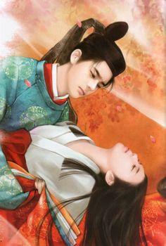 """""""The Tale of Genji"""" ~ Xujin Yao Heian Era, Heian Period, Couple Painting, Couple Art, Chinese Drawings, Chinese Art, Japanese Kimono, Japanese Art, Art Asiatique"""