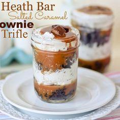 Heath Bar Salted Caramel Brownie Trifles