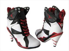 newest 685ab 46867 Nike Air Jordan 7 High Heels shoes White Black Red,Air Jordan High Heels,  authentic Air Jordan Shoes at low lowest price