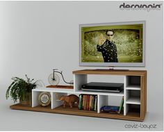 TV Stands with Media Storage by The Classy Home Tv Stand And Entertainment Center, Living Room Entertainment Center, Tv Stand With Glass Shelves, Mdf Furniture, Diy Home Decor, Room Decor, Decorating Small Spaces, Table, Media Storage