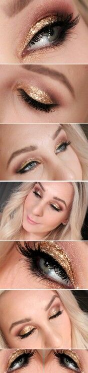 ideas makeup gold glitter eyeshadows new years Ideen Make-up Goldglitter Lidschatten S Greek Goddess Makeup, Greek Makeup, Prom Makeup, Wedding Makeup, Hair Makeup, Wedding Nail, Eyebrows, Glitter Makeup Tutorial, Golden Eye Makeup