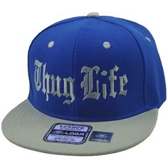 "Flat Bill Snapback Cap Hat ""THUG LIFE"" Hip Hop Two Tone Royal... ($16) ❤ liked on Polyvore featuring accessories, hats, embroidered hats, snapback hats, snap back hats, flat hats and royal blue hat"