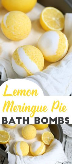 Lemon Meringue Pie bath Bombs - DIY Vanilla lemon bath bomb recipe that smells so delicious! via @beautycrafts #bathbombs #crafts