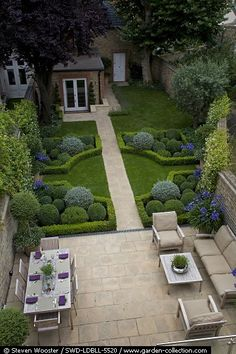 Backyard Havens * Paver patio with dining and seating areas are adjoined by a formal garden.