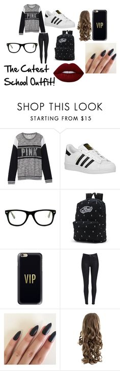 """""""School Outfit: CUTE"""" by duhitzeleena on Polyvore featuring Victoria's Secret, adidas Originals, Muse, Vans, Casetify and Lime Crime"""